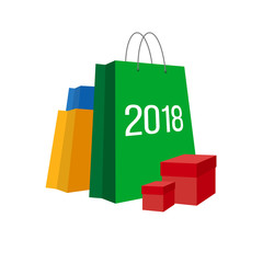 Set of colorful paper shopping bags with numbers 2018