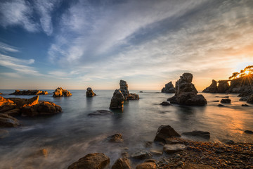 Sunset at the sea/Sunset in the cove Frares of the Costa Brava of Girona