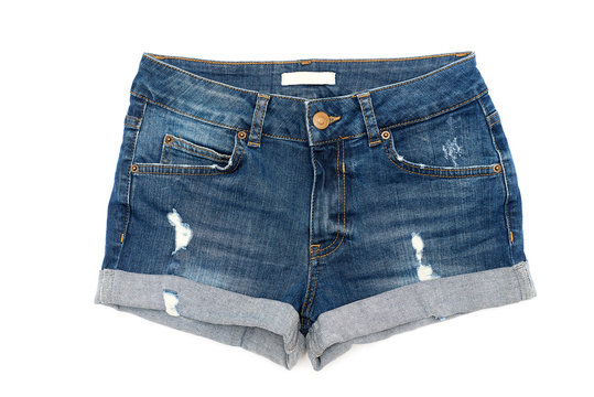 Blue jeans shorts isolated on white background flat lay
