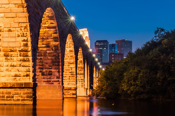 The night scene at Stone Arch Bridge, Minneapolis