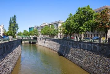 River Wien in City of Vienna, Austria
