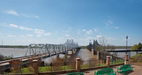 Mississippi River I-20 bridge and train trestle in Vicksburg Mississippi