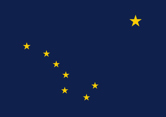Vector flag of Alaska. State symbol of Alaska, United States of America.