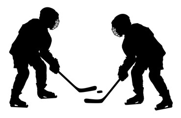 Vector of two hockey players with sticks and a washer duel. Shoots the puck and attacks vector. Skating on ice.