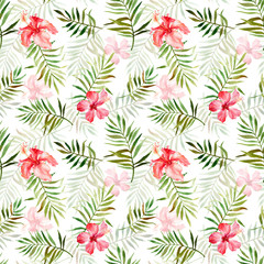 Seamless pattern with watercolor with tropical flowers and leaves.