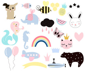 Set of cute kids elements for your design. Vector collection hand drawn illustrations.