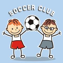 soccer club, boys and soccer ball, vector icon, banner