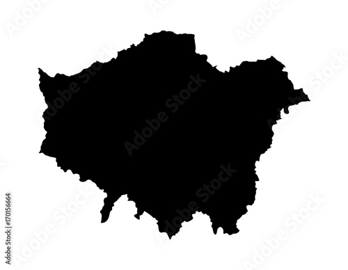Greater London vector silhouette map isolated on white background
