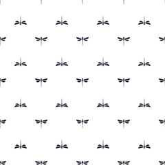 Seamless vector illustration. Pattern with silhouettes dragonfly pattern directed up and down on white background