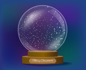 Snowglobe christmas  gift with wooden base vector illustration
