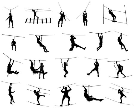 Extreme sportsman took down with rope. Man climbing vector silhouette illustration, isolated on white background. Sport weekend action in adventure park rope ladder. Ropeway for fun, team building.