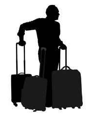 Tourist man traveler carrying his rolling suitcase vector silhouette illustration isolated on white background. Tourist with many bags isolated. Man passenger waiting taxi for travel to airport.