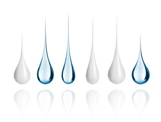 Set of different milk and water drops close-up, isolated on white background