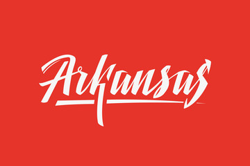 Arkansas USA State Word Logo Hand Painted Brush Lettering Calligraphy Logo Template