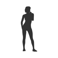 Sexy women silhouette. Young lady standing. Vector Illustration