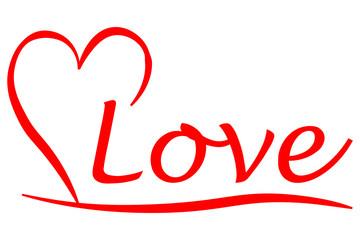 halbes Herz mit Liebe Schriftzug