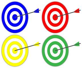 In das Ziel, 4 bunte Zielscheiben mit Pfeil