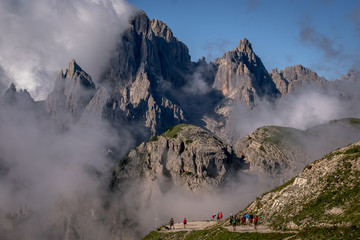 Sunny day in the Dolomites mountains
