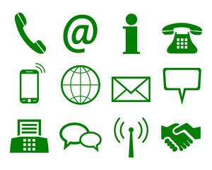 Green contact icons - stock vector