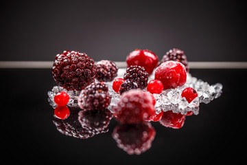 Frozen mixed red berry fruits
