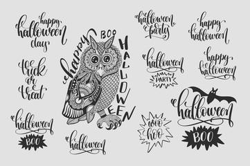 set of happy halloween hand lettering phrases