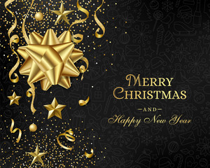 Christmas luxury black background with golden decorations