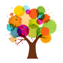 Abstract Vector Abstract Vector Colorful Tree with Splashes Isolated on White BackgroundColorful Tree with Splashes Isolted on White Background