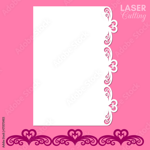 paper greeting card with lace border cut out template for cutting