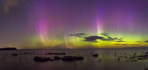 Northern lights on lake Ladoga. Leningrad oblast. Russia