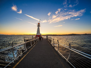 Breakwater at the Ogden Point in Victoria, BC, Canada;  sunset time