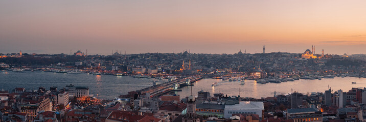 Panoramic view of Bosphorus from Galata Tower  in Istanbul, Turkey. Tourists visit Galata tower for this great panoramic view of Istanbul.