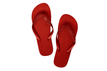 Red rubber flip flops, isolated on a white background
