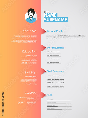 creative curriculum vitae template with orange stripe stock image