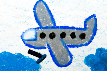 Photo of colorful drawing: Small blue airplane