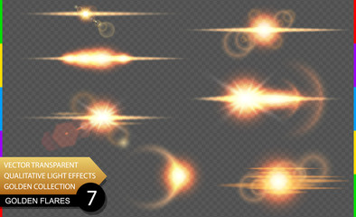Isolated golden lens flare line. Glow transparent vector light effect set, explosion, sun flash, and star burst. Abstract translucent special element design. Shine semitransparent space comet