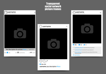 Photo frame for social network picture on dark background. Isolated vector illustration