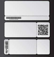 White ticket template with tear-off element, barcode and QR code isolated on transparent background. Music, Dance, Live Concert event entrance vector invitation card. Lottery blank