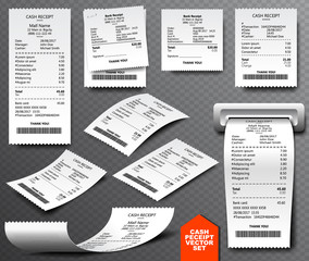 Cash register sale receipt printed on thermal rolled paper. Realistic image collection isolated on transparent background. Financial atm transaction check icon vector illustration