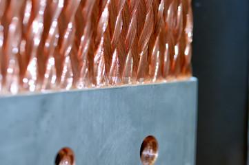 Copper electric bus busbar close-up