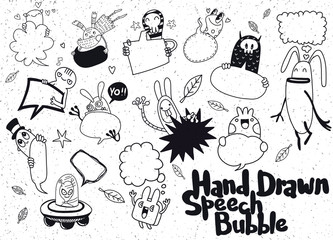 Set of funny monster and Cute blank speech bubble doodle