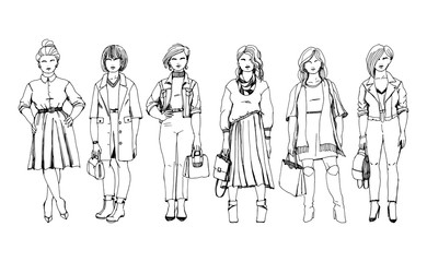 Fashion size plus. Attractive curvy women in fashion trendy clothes. Outfits for autumn elegant and casual hand drawn with ink pen. Black and white line art.