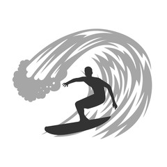 Surfer on wave vector illustration.
