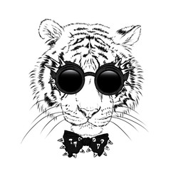 A beautiful tiger with glasses and a tie with thorns. Vector illustration for a postcard or a poster.
