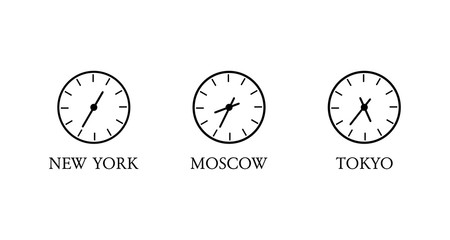 World time. Clock with different time in different countries