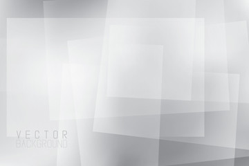 Monochrome minimalistic geometric background with copyspace. Vector illustration. Backdrop with various opasity and gradient layers.