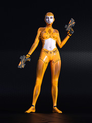 Android girl, female human cyborg in black sci fi environment, 3D