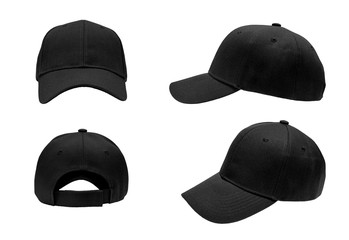 blank black baseball hat 4 view on white background