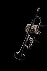 In de dag Muziek Trumpet player. Trumpeter music playing jazz