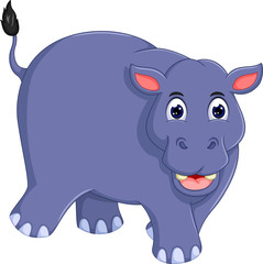cute hippo cartoon walking with smile