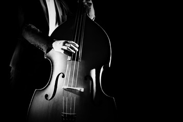 Double bass player playing contrabass musical instrument